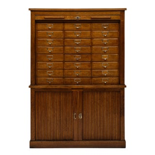 Vintage French Oak 24 Drawer Filing Cabinet For Sale