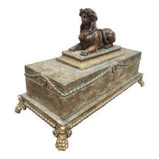 Neoclassical Wooden Sphinx Box For Sale