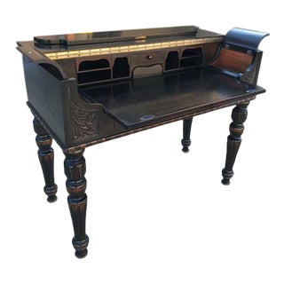 20th Century Victorian Campaign Mahogany Writing Desk For Sale