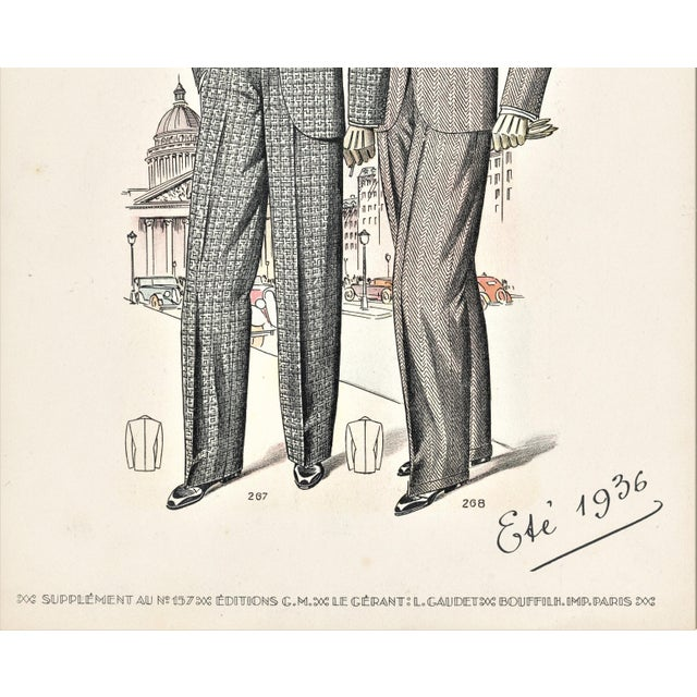 Contemporary Matted French Art Deco Men's Fashion Tailoring Lithograph For Sale - Image 3 of 4