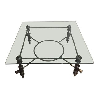 Aged Bronze Glass Coffee Table Base For Sale