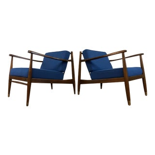 Mid Century Walnut Lounge Chairs - Refinished and Reupholstered -A Pair For Sale