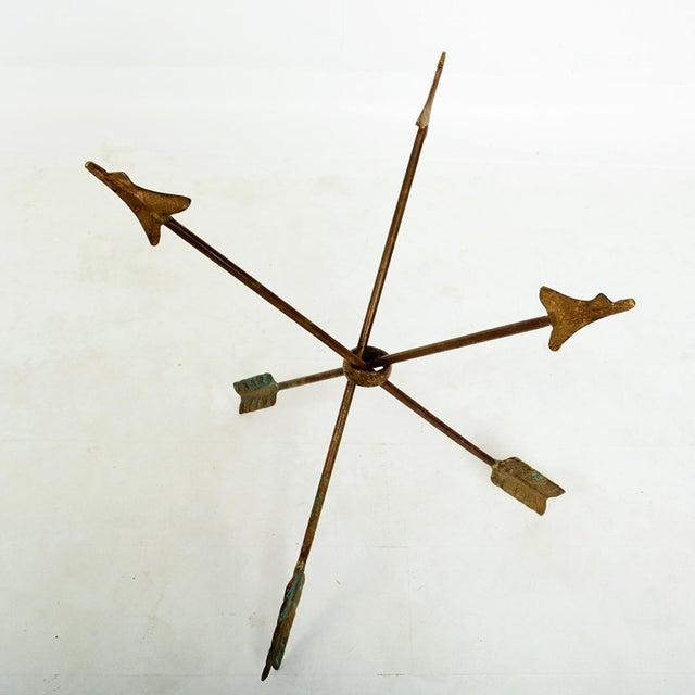 Metal 1940s Arturo Pani Bronze Arrows Glass Top Side Tripod Table For Sale - Image 7 of 8
