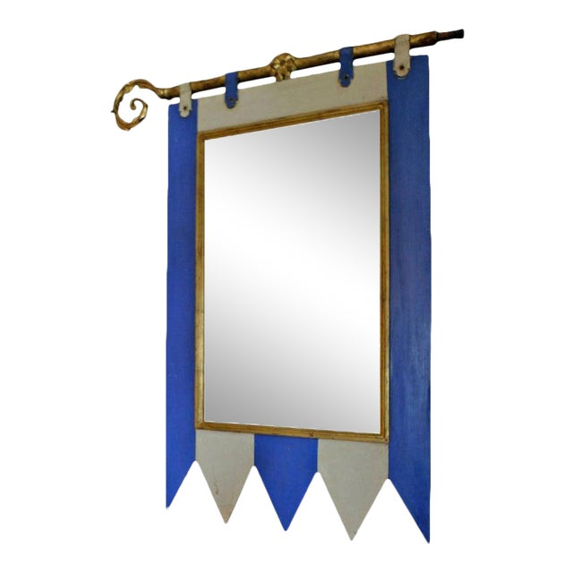 19th Century French Painted Wood Framed Mirror For Sale