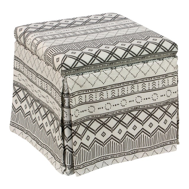 Kuba Ink Skirted Storage Ottoman For Sale - Image 10 of 10
