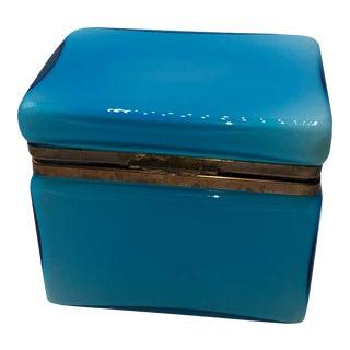 Mid Century Murano Blue Opaline Glass Dresser Box For Sale