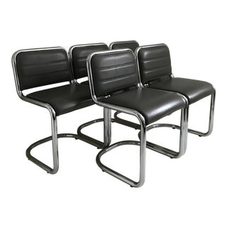Set of 5 Vintage Retro Tubular Chrome & Gray Vinyl Upholstery Chairs For Sale