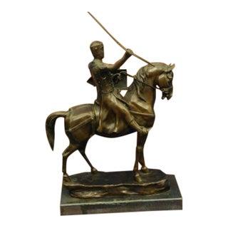 Modern Brave Medieval Knight Warrior Bronze Sculpture For Sale
