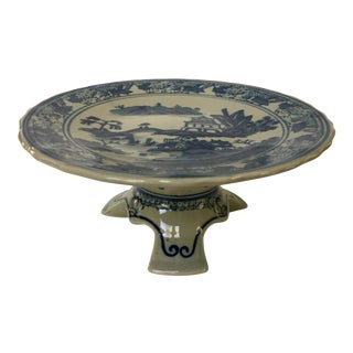 1990s Chinoiserie Blue and Pale Gray Scalloped Tray on Footed Stand For Sale
