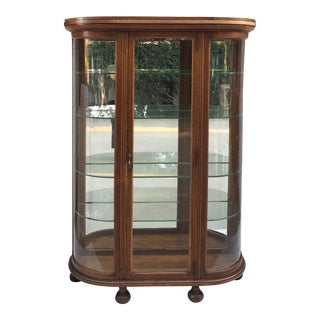 Antique Round Glass Wood China Curio Cabinet For Sale