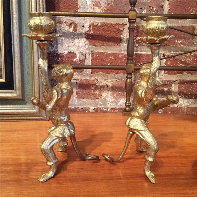 Pair of Gilt Bronze Monkey Candlesticks - Image 4 of 8