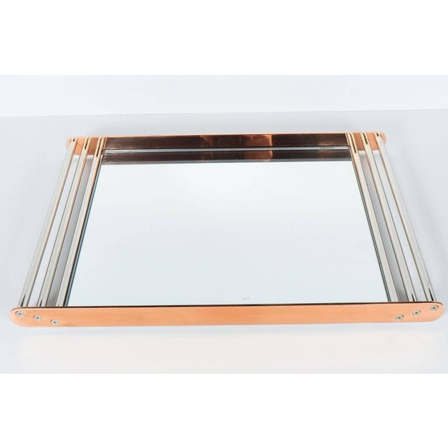 Art Deco Machine Age Skyscraper Style Mirrored Tray with Copper and Chrome For Sale In New York - Image 6 of 11