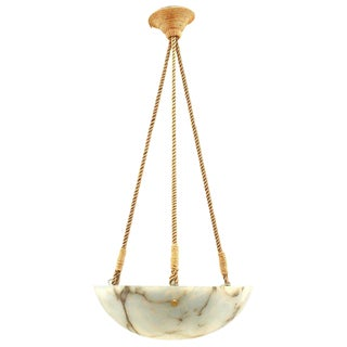 20th Century French Style Alabaster Bowl Chandelier For Sale