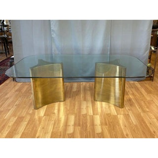 Mastercraft Trilobi Brass Pedestal Base Glass Dining Table, Early 1970s Preview