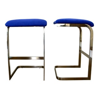 Blue Faux Suede and Silver Cantilever Barstools - A Pair For Sale