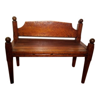 Early 19th Century Tiger Maple Rope Bed Bench