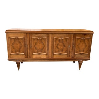 1940s French Solid Walnut Sideboard For Sale