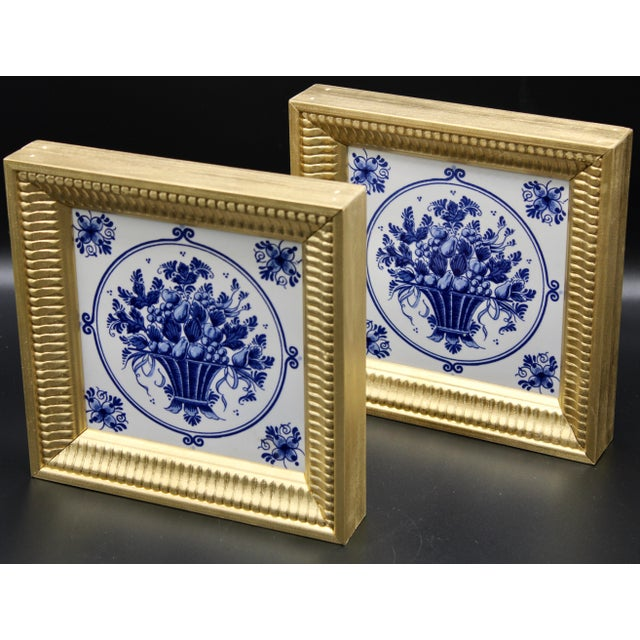 Mid-20th Century Dutch Delft Floral Gilt Wood Framed Tiles - a Pair For Sale - Image 10 of 13