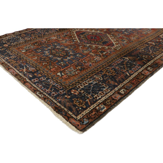 73292 Antique Persian Karaja Heriz Rug with Mid-Century Modern Style, Accent Rug. This hand knotted wool distressed...