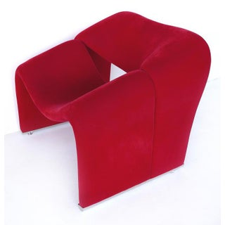 "1970s Paulin ""Groovy"" Chair in Red Velvet Preview"