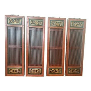Vintage Chinese Door/Cabinet Panels - Set of 4 For Sale