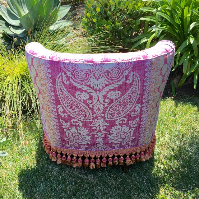 Mid-Century Modern Block Print Pattern Swivel Slipper Chair For Sale - Image 4 of 8
