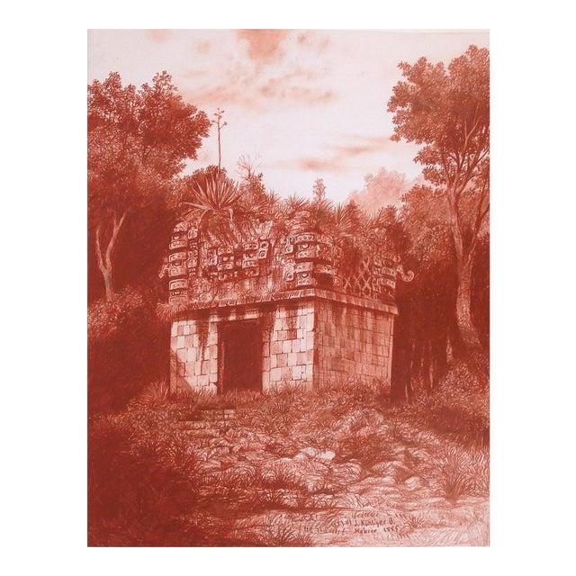 """Illustration of Mayan Ruins, """"Habitat Maya No.5"""" For Sale"""