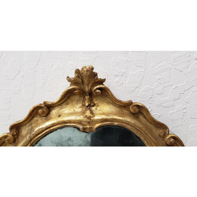 Matching Pair of 19th Century Italian Hand Carved & Gilded Mirrors For Sale - Image 4 of 10
