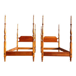 Vintage Pair Twin XL Size Stickley Cherry Valley Chippendale Tall Poster Beds For Sale