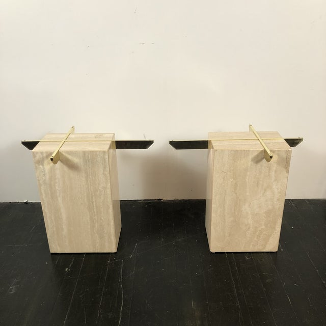 Metal 1970s Artedi Italian Marble Side Tables - a Pair For Sale - Image 7 of 13