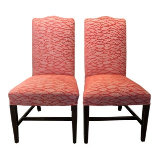 Chenille-Upholstered Side Chairs - a Pair For Sale