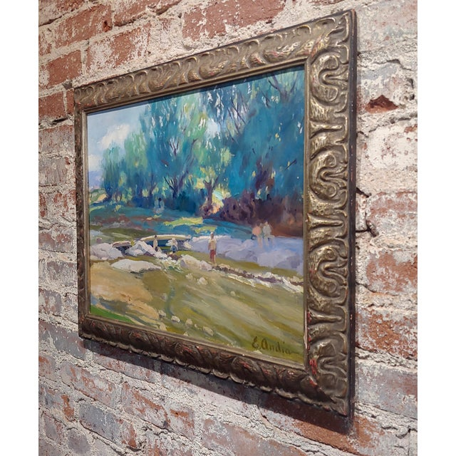 Summer at the River-California Impressionist Oil Painting-E. Andia For Sale In Los Angeles - Image 6 of 8