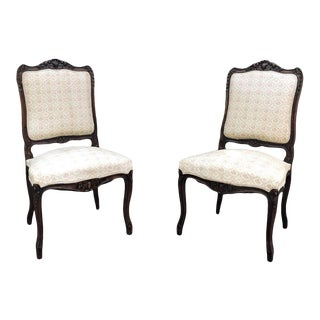 Pair 19th Century French Regence Walnut Side Chairs For Sale