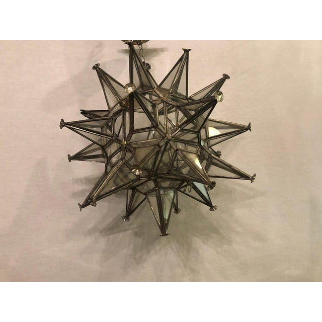 Art Deco Pair of Sputnik Star Light Fixtures Lead Glass Art Deco Style Not Wired For Sale - Image 3 of 13