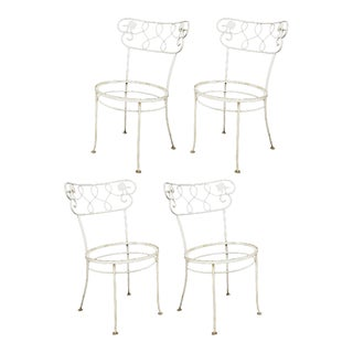 Set of 4 Vintage Wrought Iron Garden Patio Dining Chairs Woodard Chantilly Rose For Sale