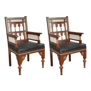 1950s Vintage Moroccan Moorish Armchairs- a Pair For Sale