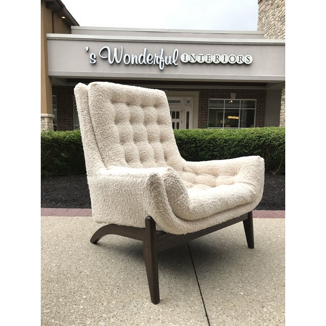 Adrian Pearsell for Basset Mid-Century-Modern Lounge Chair Tufted Faux Fur Shearling For Sale - Image 10 of 10