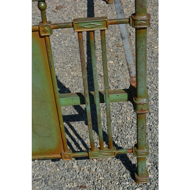 1800's Antique European Cast Iron Steel Green Shabby Chic Scenic 3/4 Bed Frame For Sale - Image 9 of 13