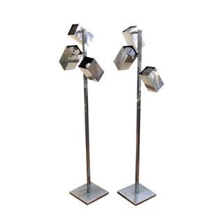 1960s Koch & Lowy Modern Chrome Floor Lamps - a Pair For Sale