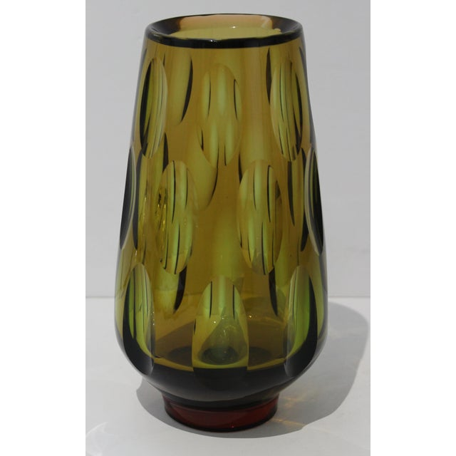 Mid-Century Modern Swedish Vase With Optic Ovals - Smokey Olive Green For Sale In West Palm - Image 6 of 12
