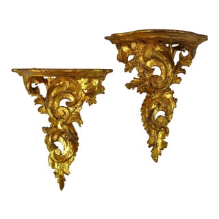 1950s Florentine Gilt Brackets, Pair For Sale