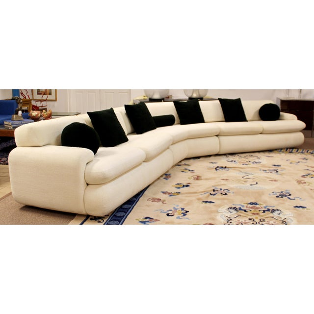 For your consideration is a phenomenal, curved, three piece sectional sofa, with a white fabric upholstery, Vladimir...