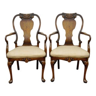 Pair of Vintage Shell Carved Burl Wood Walnut George II Style Dining Arm Chairs