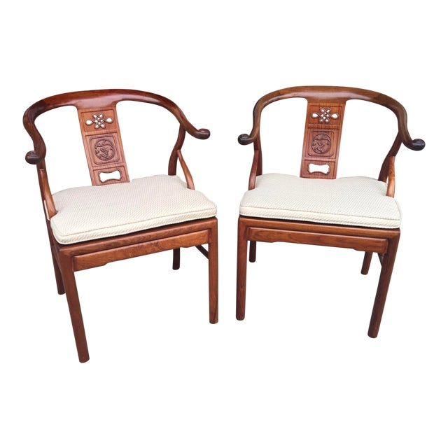 Chinese Rosewood Horshoe Chairs a Pair For Sale