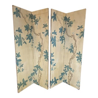 Late 19th Century Continental Painted Chinoiserie Wallpaper Screen With Decoupage - a Pair For Sale