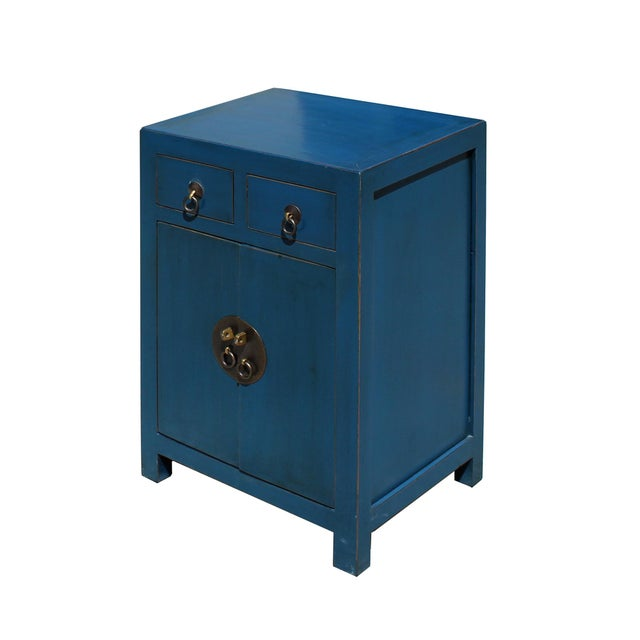 Oriental Distressed Teal Blue Chathams Lacquer Side End Table Nightstand For Sale - Image 4 of 7