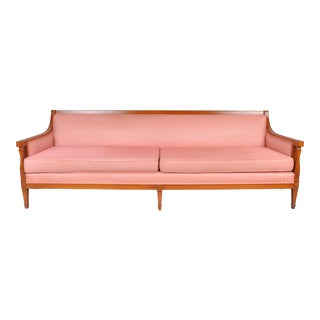 Vintage French Country Style Sofa W/ Soft Pink Upholstery For Sale