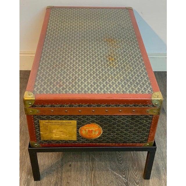 Vintage Goyard Hardcase Trunk on Iron Stand For Sale - Image 11 of 13