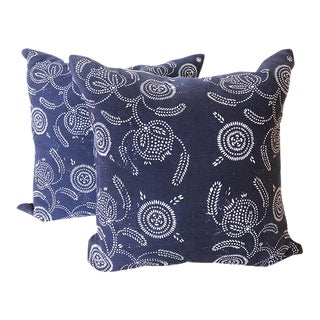 Chinese Indigo Resist Dyed Pillows- a Pair For Sale