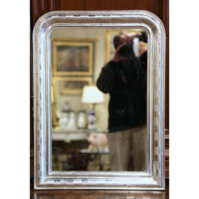 Louis Philippe 19th Century Louis Philippe Silver Leaf Mirror With Engraved Stripe Decor For Sale - Image 4 of 7
